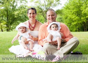 Family photograph with twin girls taken at Meadowlark Gardens in Northern VA by Professional Photographer
