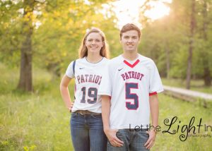 Brother and sister pose for their portraits in their lacrosse and field hockey and softball uniform near Haymarket Virginia