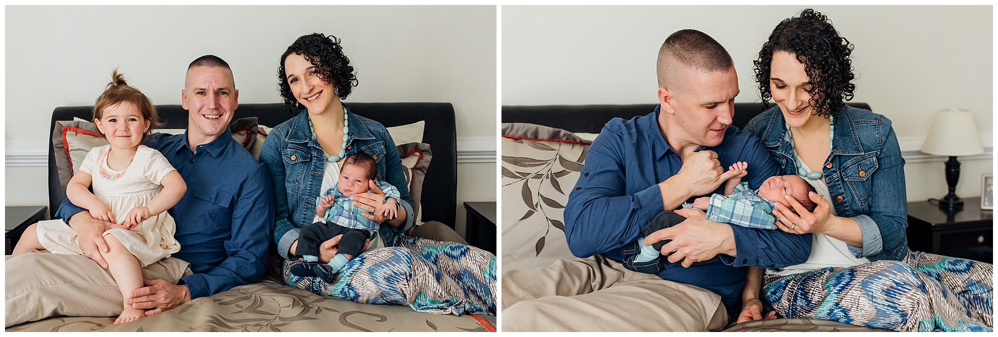 Newborn boy with parents and sister. Taken by local photographer in Bristow Virginia