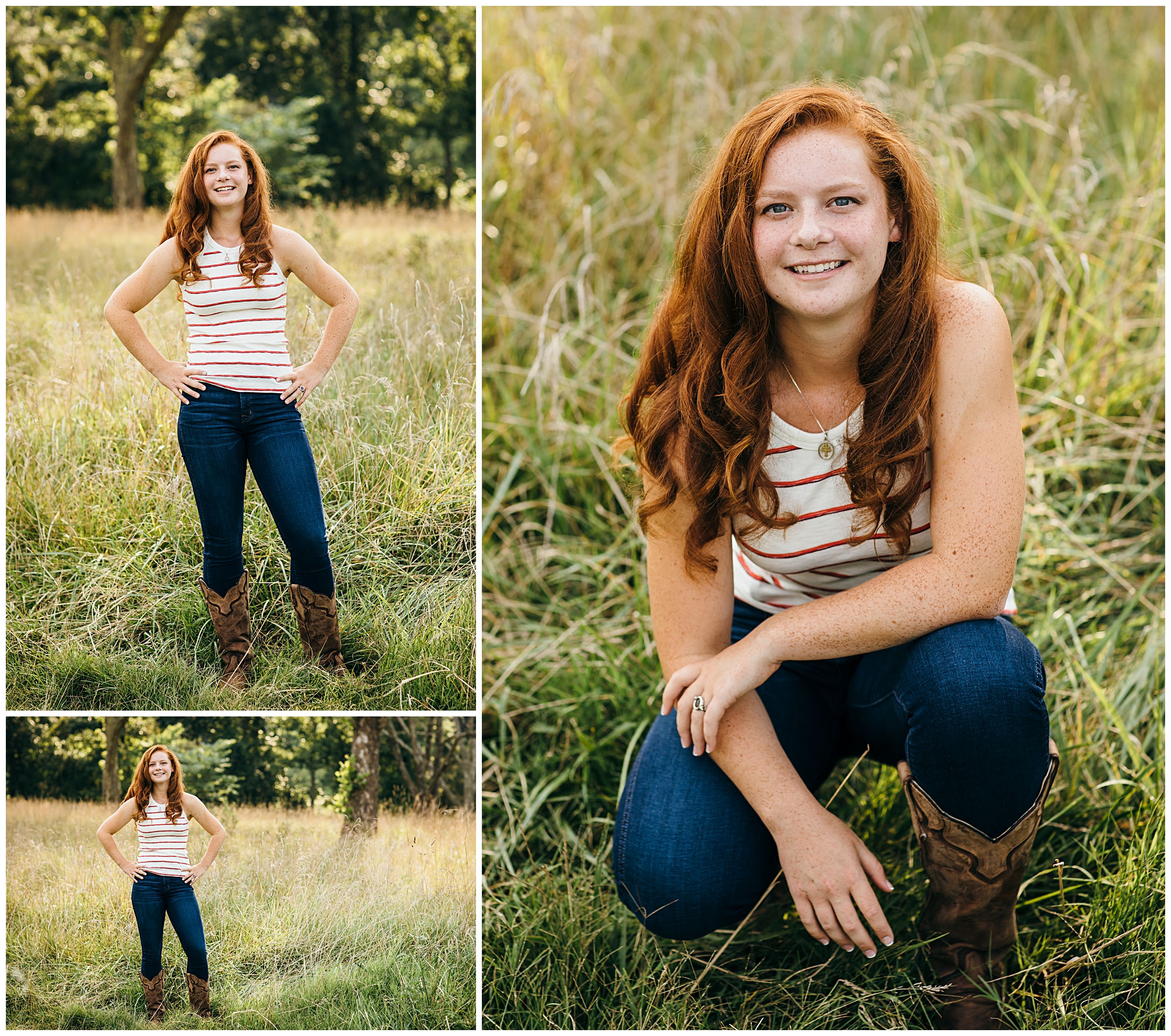 High School Senior girl posing for portraits in the grass at Manassas Battlefield