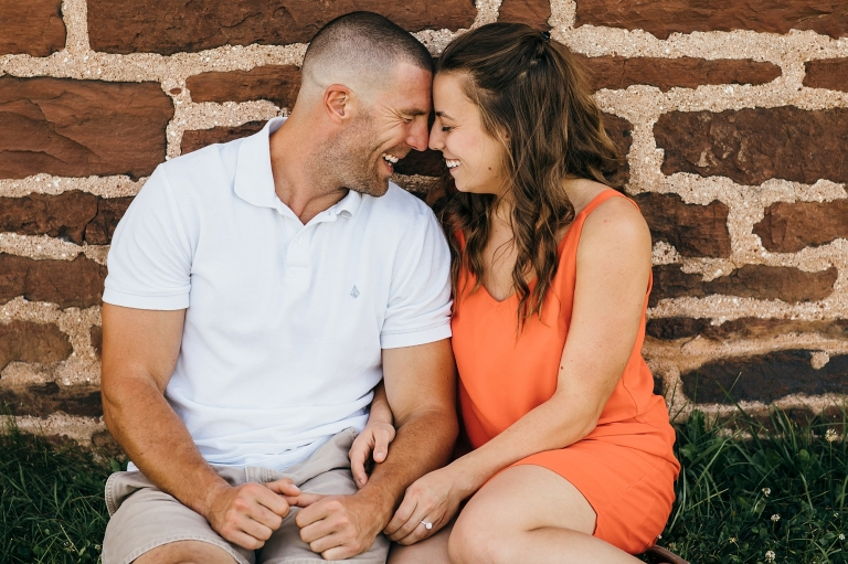 Couple looking at each other forehead to forehead
