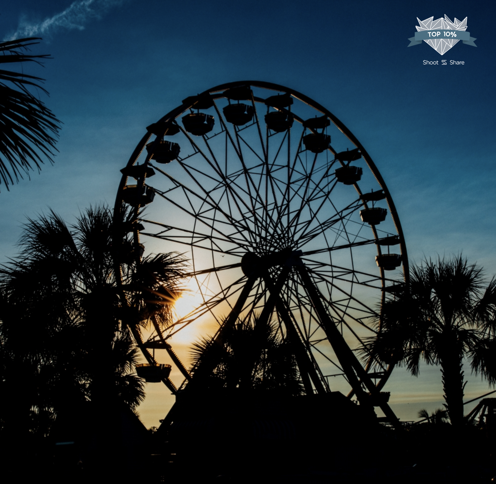 Silhouette of Ferris wheel in Myrtle Beach South Carolina